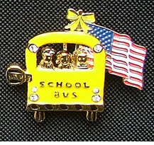 Patriotic School Bus Pins - 2 styles