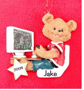 Personalizable Boy & Girl Bears Gamer Ornaments-CLEARANCE