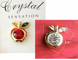 Pretty Apple Lapel Pin with Rhinestone Center on Gift Card