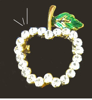 Pretty Apple Rhinestone Outline Pin - only 12 left!