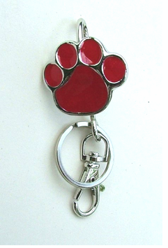 Red Paw Print Purse Hanger Key Ring