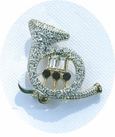 Rhinestone French Horn Pin  -ON SALE!