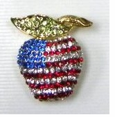 Rhinestone Patriotic Apple Flag Pin