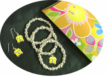 School Bus Bracelet and Earrings Gift Set