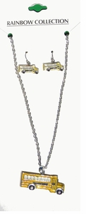 School Bus Necklace and Earrings set