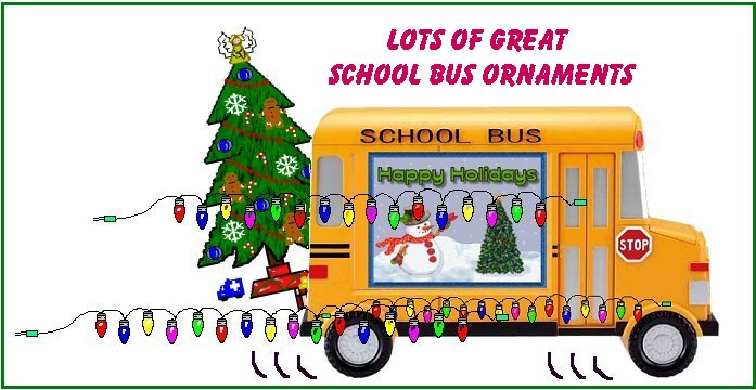 See lots of christmas ornaments and decor for school bus