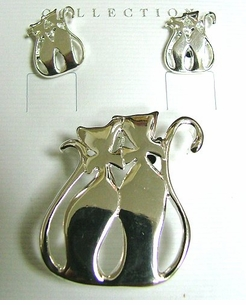 Silver Plated Cats Pin/Pendant Set