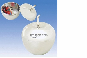 Silvertone Apple Container Laser Engraved or Imprinted with YOUR Logo