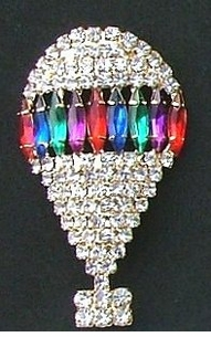 Spectacular Jeweled Hot Air Balloon Pin