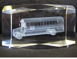Stunning - School Bus Crystal Paperweight/Award