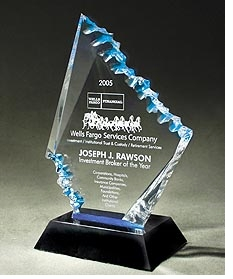 The look of Crystal - Lazer etched Lucite Award