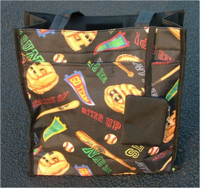 TOTE BAG  CLEARANCE!  Fun Washable Baseball & Basketball Sports Tote Bags