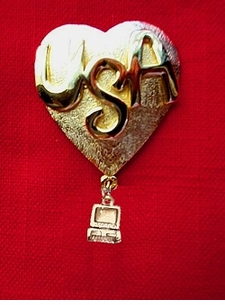 USA Heart with computer Pin - Clearance