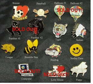 Value Conscious Sports & Mascot Lapel Pins $1.00 ea. CLEARANCE