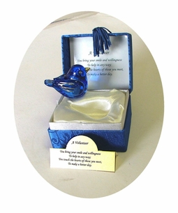 Volunteer Gilded Blown Glass Blue bird Messenger - on SALE!