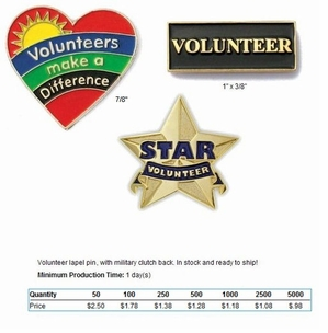VOLUNTEER Stock Lapel Pins as low as .98 ea.