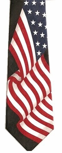 Waving American Flags Poly Patriotic Ties -6 Styles