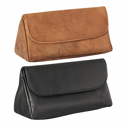 4th Generation Brown Suede, Black or Navy Blue Leather Combination Pipe & Tobacco Pouch