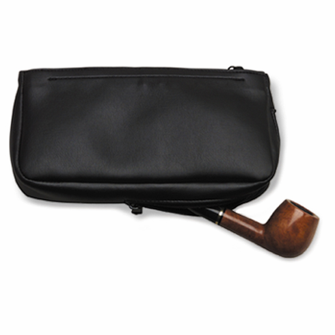 Black Imitation Leather Pipe & Tobacco Combination Pouch