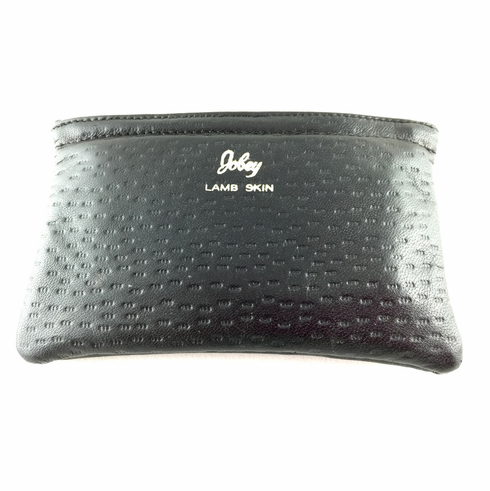 Black Lambskin Full Size Tobacco Pouch with Zipper by Jobey