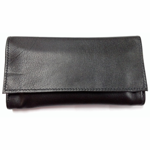Black Lambskin Large Roll Up Tobacco Pouch by Jobey