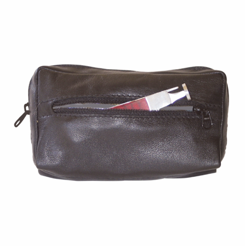 Black Leather Square Combination Zippered Tobacco Pouch