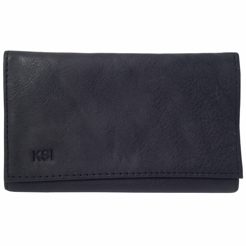 Black Leather Tri-Fold Rollup Tobacco Pouch