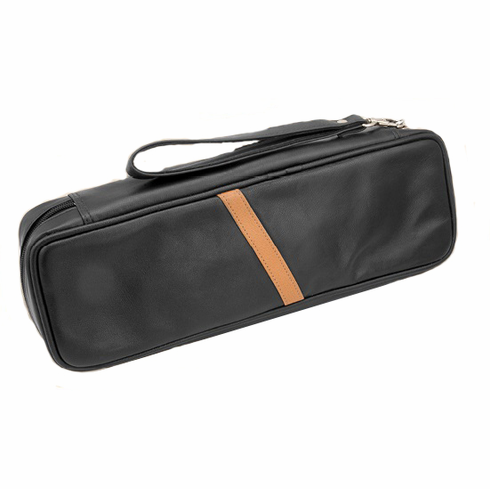 Black Leather Zippered Combination Churchwarden Pipe & Tobacco Pouch Travel Carrying Case w/Strap Handle Holds 2 Pipes