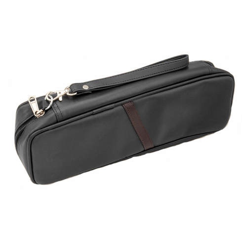 Black PVC Zippered Combination Churchwarden Pipe & Tobacco Pouch Travel Carrying Case w/Strap Handle Holds 2 Pipes