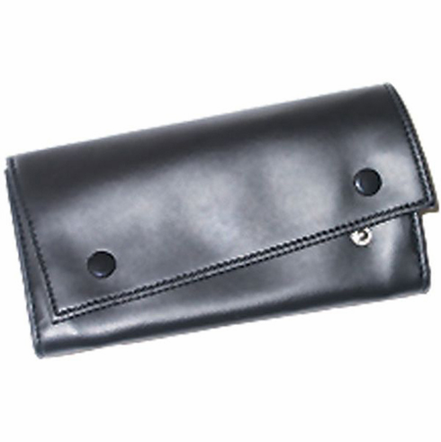Black Vinyl 2 Snap Roll Up Pipe Tobacco Pouch