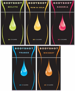 Bodyshot Cocktail Flavored Little Cigars - Choose Mojito, Rum & Cola, Sangria, Trance or Whiskey - 20 Pack