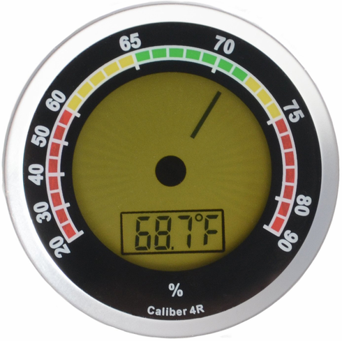Caliber 4R Digital Hygrometer & Thermometer by Western Humidor in Silver