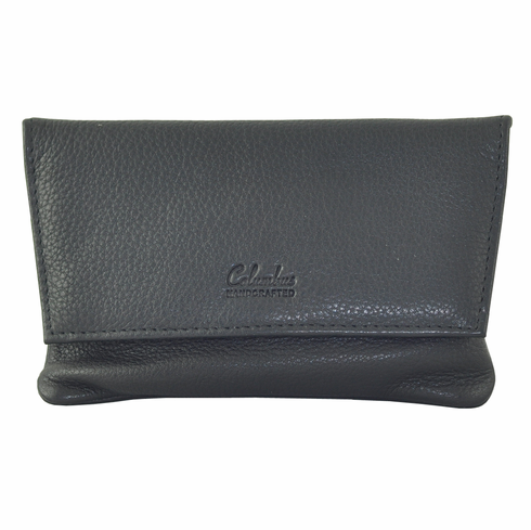 Columbus Black Leather 2 Snap Tobacco Pouch