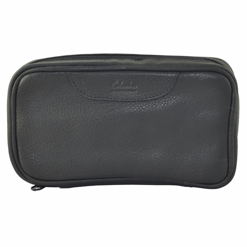 Columbus Black Leather Tobacco Pouch Travel Case Holds 2 Pipes