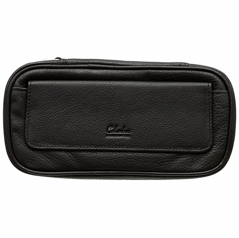 Columbus Black Leather Tobacco Pouch Travel Case with Strap Handle Holds 3 Pipes