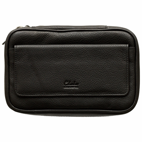 Columbus Black Leather Tobacco Pouch Travel Case with Strap Handle Holds 4 Pipes