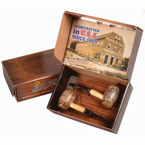 Country Gentleman Gift Set of 2 Corn Cob Pipes - 1 Bent & 1 Straight