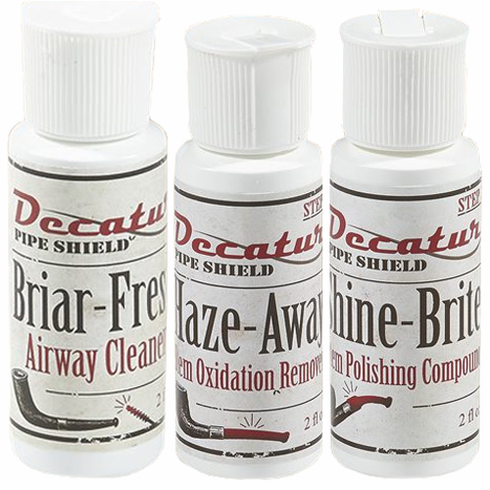 Decatur Pipe Shield 3 Pack Briar-Fresh, Haze Away & Shine-Brite Cleaning Kit