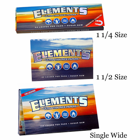 Elements Ultra Thin Rice Cigarette Rolling Papers - 1-1/4, 1-1/2 or Single Wide