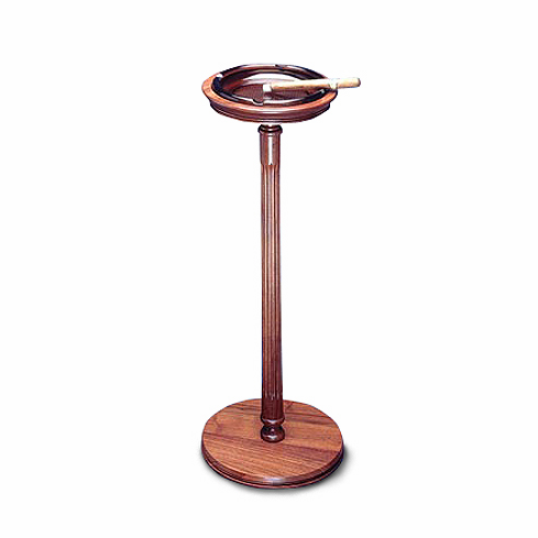 Handcrafted Solid Genuine Teak Wood Handcrafted Wooden Floor Stand with Glass Cigar Ashtray