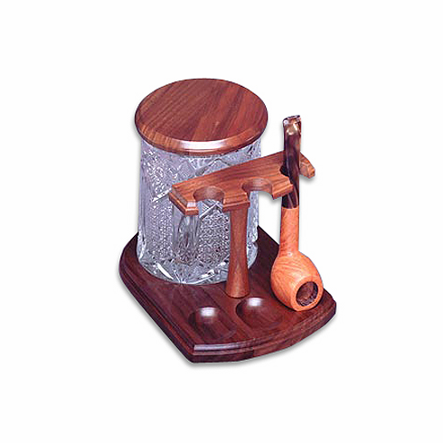Handcrafted Solid Genuine Walnut or Teak Wood 3 Pipe Wooden Stand w/ Glass Tobacco Jar
