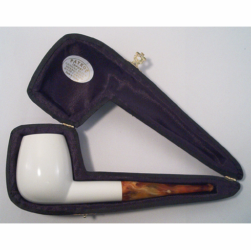 Large Smooth Straight White Turkish Meerschaum Smoking Pipe