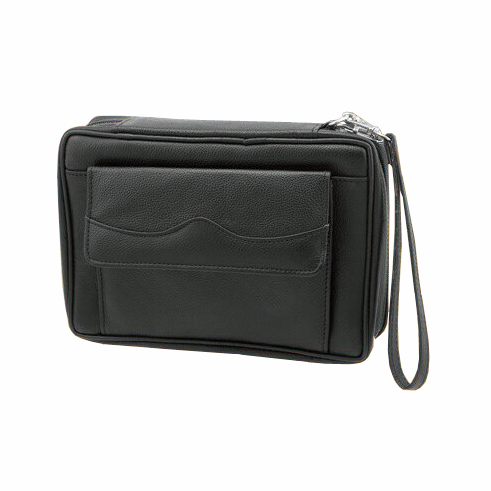 Leather Black Tobacco Pouch Travel Case with Strap Handle Holds 6 Pipes