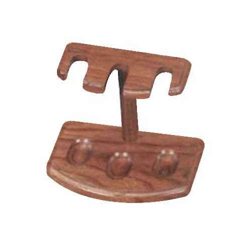 Oak or Walnut Wooden 3 Tobacco Pipe Furniture Style Stand