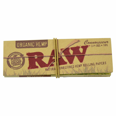 Organic Raw Connoisseur Pack Natural Unrefined Hemp Cigarette Rolling Papers & Tips