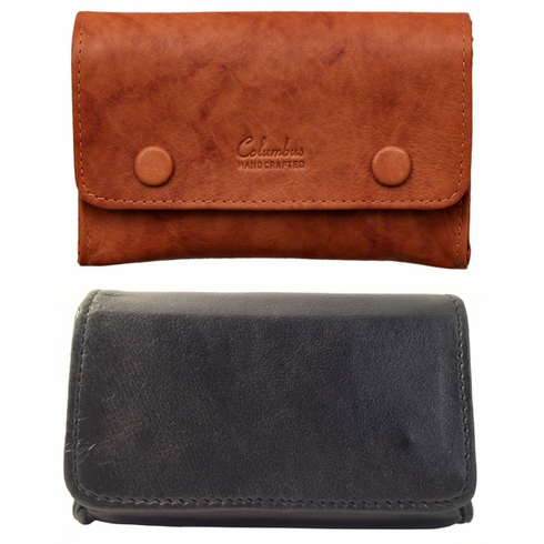 Tan or Black Leather Small 2 Snap Box Tobacco Pouches