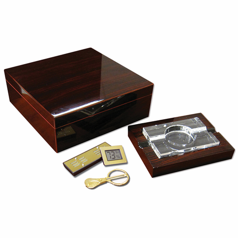 The Chamberlain Desktop Cigar Humidor Gift Set