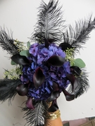 Purple flowers with black feathers
