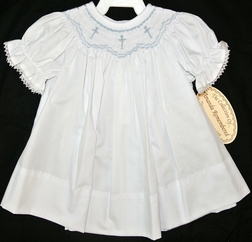 Amanda Remembered Smocked Blue Crosses Dress