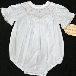 Amanda Remembered Smocked Ecru Crosses Dress
